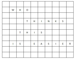 CROSS WORD NO LETTERS WITH MESSAGE