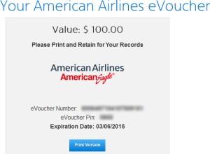 American Airline Voucher $100
